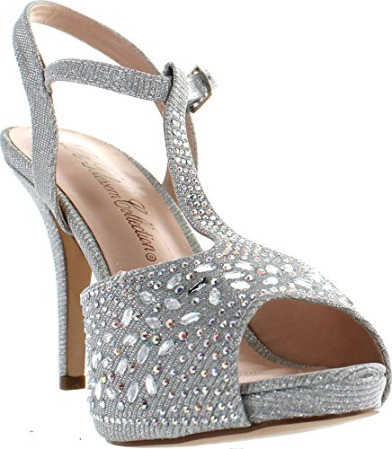 De Blossom Collection Womens Robin 187 Stunning T Strap Sparkle Party Dress Sandals Silver Sparkle s6S1W9Me