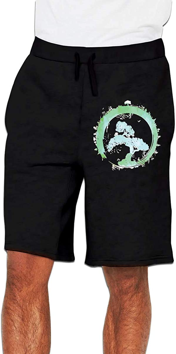 Mens Fashion Japanese Bonsai Tree Enso Circle Art Jogger Sweatpant Workout Gym Shorts