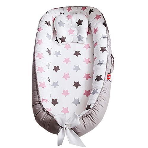 Abreeze Baby Bassinet for Bed,Grey-Pink Stars Baby Lounger Crib Bedding, Breathable Hypoallergenic Co-Sleeping Baby Bed, 100 Cotton Portable Crib Pillow for Bedroom Travel Camping