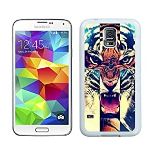 linJUN FENGCool Silicone Samsung S5 Phone Case Tiger TPU Durable Rubber White Cover