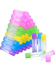 eBoot 50 Pieces Lip Balm Empty Container Clear Tubes with Twist Bottom and Top Cap, 3/ 16 Oz (5.5 ml) (Multicolor)