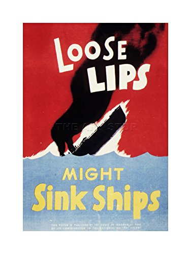 WAR WWII LOOSE LIPS SINK SHIPS ART PRINT WOOD FRAME PICTURE ART GIFT F12X1008 (Wwii Ship Photograph)