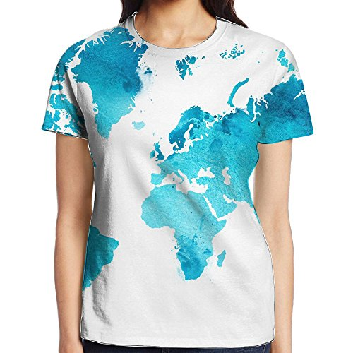 Xiaobaby Illustrated Map Of The World With A Isolated Background Blue Classic Travel Tee M