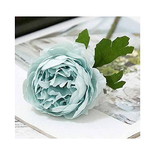 paasionous Silk Roses White Artificial Flowers Peony for Home Decoration Flowers DIY Wedding Decor Wall,Blue Flowers (Print Flowers Zebra Artificial)