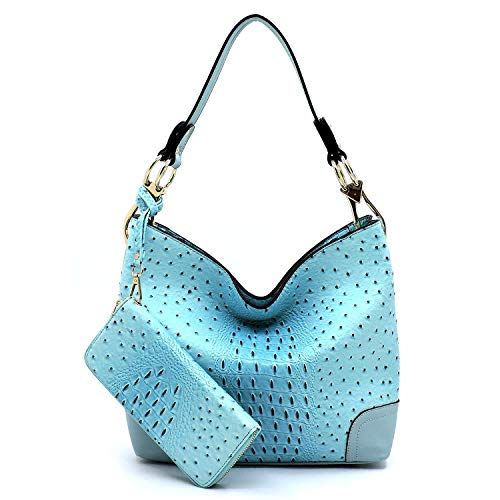 - 2 PC Set Ostrich Croco Embossed Vegan Faux Leather Hobo Shoulder Bag Classic Bucket Purse with Matching Wallet (L.BLUE)