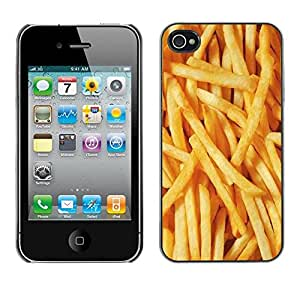 Design for Girls Plastic Cover Case FOR iPhone 4 / 4S French Fries Junk Food Fast Yellow OBBA