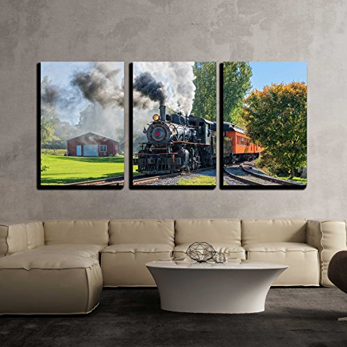 Depot Train - wall26 - 3 Piece Canvas Wall Art - Old Vintage Steam Engine Arriving at the Train Depot - Modern Home Decor Stretched and Framed Ready to Hang - 16