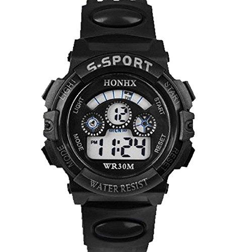 Kids Indiglo Elastic Strap Watch (UPLOTER 2016 Boy Waterproof Digital LEDQuartz Alarm Date Children Sports Wrist Watch Black)