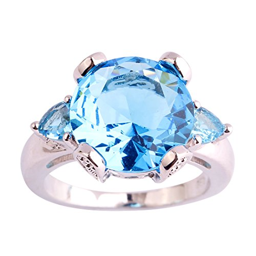 Psiroy 925 Sterling Silver Created Blue Topaz Filled Solitaire Engagement Ring (Blue Square Ring Topaz Solitaire)