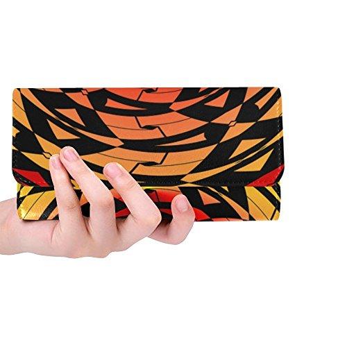 Unique Custom Tile Pattern Red Yellow Black Geometric Women Trifold Wallet Long Purse Credit Card Holder Case Handbag ()