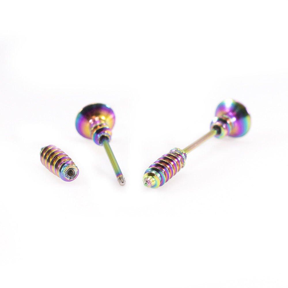 BodyJewelryOnline Nipple Barbell Ring Screw Bar Stainless Steel 16G Colors Gold//Rose Gold//Steel//Multicolor//Hematite