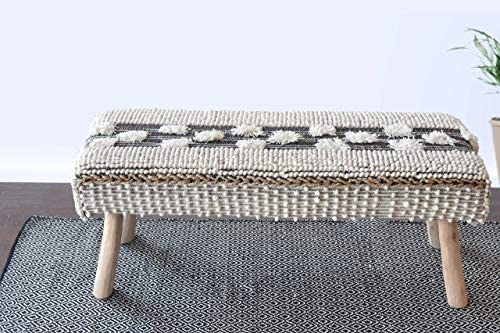 POPULAR LIFE HOME Cotton Wooden Bench Tufted Ottoman