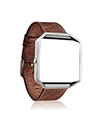 JDHDL Genuine Leather Strap with Housing for Fitbit Blaze Replacement Band (Coffee Leather Band +Silver Frame)