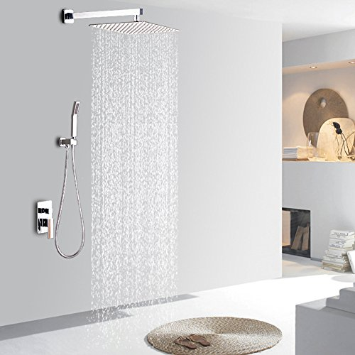 STARBATH Bathroom Luxury Shower Set with rainshower 12 inch - Adjustable Wall Mounted Shower Holder for Square Rainfall Shower Head Set, Polished Chrome by STARBATH (Image #7)