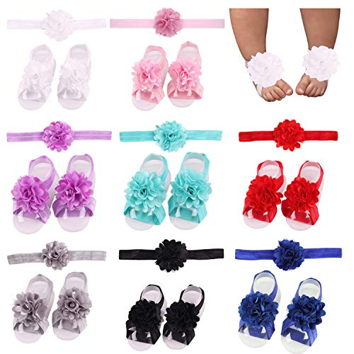 For Bare Feet Cotton Headband - 8 Pairs Satin Flower Headbands & Barefoot Sandals for Baby Girl Infants Toddlers (8 Pairs S1)
