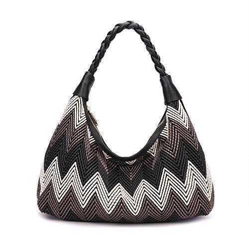 - Women Hobo handbags fashion purses designer hand woven shoulder bag large capacity tote bags PU Leather (black)