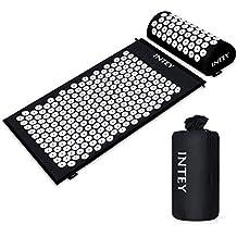 INTEY Acupressure Mat & Pillow Set Back &Neck Pain Relief Massage Mat with Carry Bag Black