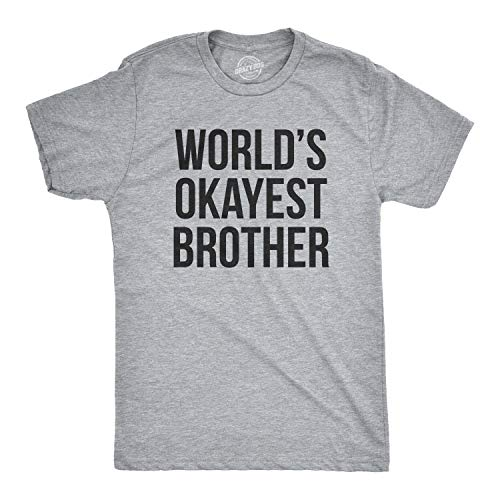 Mens Worlds Okayest Brother Shirt Funny T shirts Big Brother Sister Gift Idea (Grey) XXL