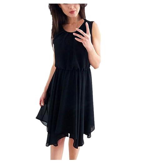 Mrcy Chiffon Dress Womens O Neck Chiffon Sleeveless Evening