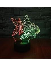 Złota rybka 3D wizja nocna lampka kreatywna kolorowa dotykowa ładowana LED stereo światło prezent atmosfera światło