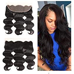 "14"" inch Free Part 13x4"" Body Wave Lace Frontal With Baby Hair Ear To Ear body wave Lace Frontal Closure Brazilian Virgin Human Hair Front Top Extensions Natural Color (14 Frontal)"