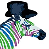 zebra face paint - YEESAM ART New Paint by Numbers Kits for Kids, Diy Oil Painting - Colored Zebra Face 25X25cm - Framed