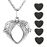 JOVIVI Antique Silver Heart Wing Openable Locket Essential Oil Perfume Aromatherapy Diffuser Pendant Necklace with 5 Dyed Lava Stones