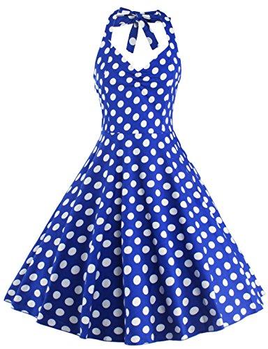 U-shot Vestidos Para Mujer Sin Mangas Lunares 1950S Vintage dama de honor Cóctel Fiesta Halter Swing Vestido Azul