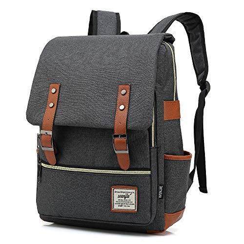 HITOP College Backpack, Vintage Fashion Laptop Travel Bag for Women Men Fits 15.6 Inch Laptop and Notebook (Black)