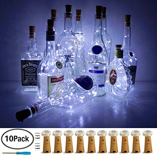 LoveNite Wine Bottle Lights with Cork, 10 Pack Battery Operated LED Cork Shape Silver Copper Wire Colorful Fairy Mini String Lights for DIY, Party, Decor, Christmas, Halloween,Wedding (Cool White) -
