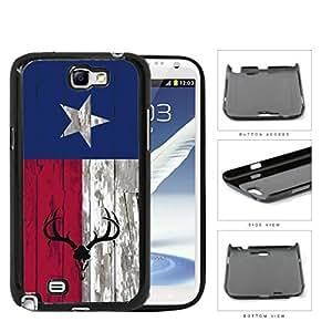 Deer Hunter Skull Bones Antlers on Texas Flag & Wood Background Samsung Galaxy Note II 2 N7100 Hard Snap on Plastic Cell Phone Cover