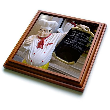 Danita Delimont - Rome - Restaurant statue of chef in Rome Italy - EU16 BBA0201 - Bill Bachmann - 8x8 Trivet with 6x6 ceramic tile - Framed Tile Chef