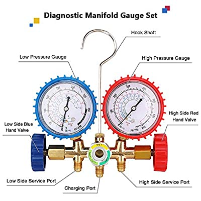 KONDUONE 5FT AC Gauge Set for R134A R410A R22 Refrigerants A/C Diagnostic Manifold Gauge Set with 2pcs 1/4 Inch Quick Coupler: Automotive