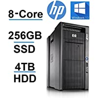 8 CORE COMPUTER with 16 Hyperthreads -HP Z800 Workstation - 2 X Intel QUAD CORE Xeon up to 3.33GHz - New 256GB SSD + 4TB HDD - 24GB DDR3 - 4 Monitor Capable - USB 3.0 - REFURBISHED