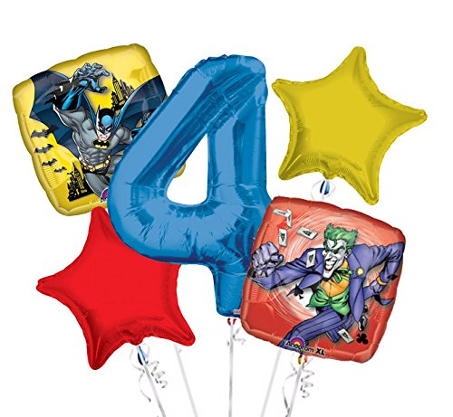 Batman and Joker Balloon Bouquet 4th Birthday 5 pcs - Party -