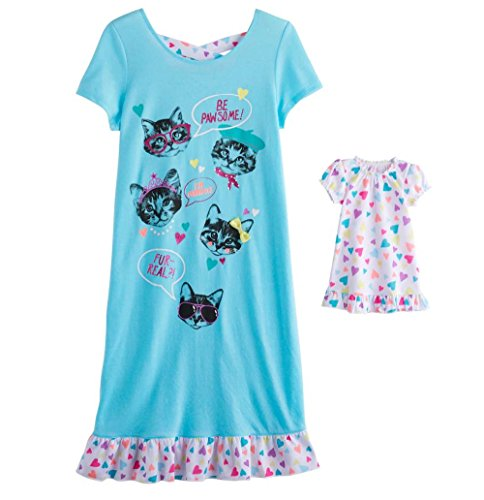 SO Little and Big Girls' Nightgown with Matching 18 inch Doll Pajamas (14, Blue Cats)