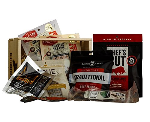 Ultimate Beef Jerky Sampler Gift Crate - 8 Packs (Various Flavors) - Gift Jerky Box – Comes In Wooden Gift Crate – Gift For Men – Jerky Collection