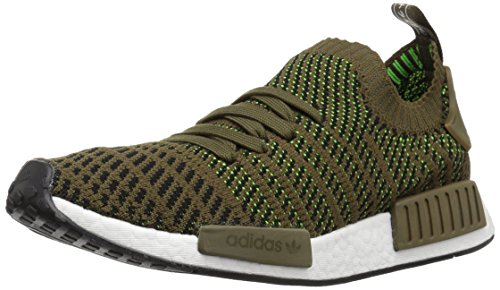 adidas Originals Men's NMD_R1 STLT PK Running Shoe, Trace Olive/Black/Lime, 11 M US