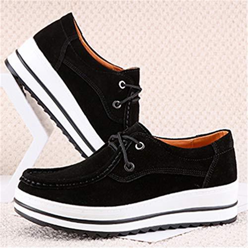 Sneakers Donna Donna Scamosciata Pelle Scarpe Mocassini Pizzo Autunno Scarpe Nero Casuale OOpwqCrdn
