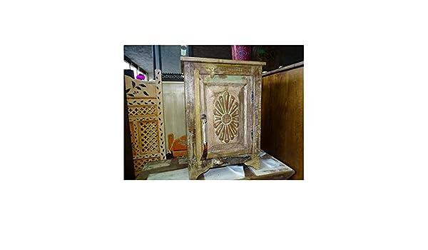 int. dailleurs - Mesita de Noche de Teca Blanca reciclada patinada con Puerta de Flores talladas - PAL373: Amazon.es: Hogar