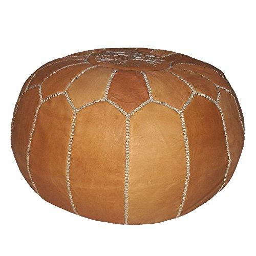 moroccan leather pouf ottoman handmade hassock light tan almond Cognac Unstuffed