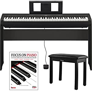Yamaha P45 88 Weighted Keys Digital Piano with Yamaha L85 Furniture Stand ,Knox Bench and Focus Music Book/CD