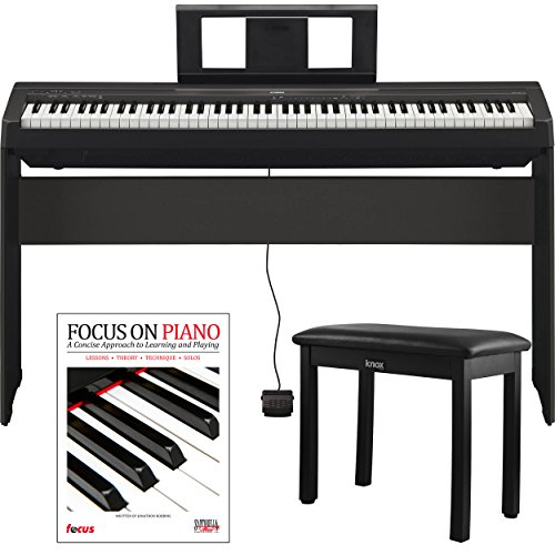Yamaha P45 88 Weighted Keys Digital Piano w/ Yamaha L85 Furniture Stand ,Knox Bench and Focus Music Book/CD - Weighted Keys Piano
