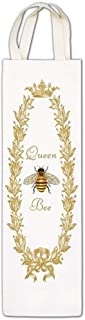 """product image for Alice's Cottage Queen Bee Wine Caddy   White with Gold Flowers and Crown Design   25-473, Size 3 ½"""" x 13 ½"""""""
