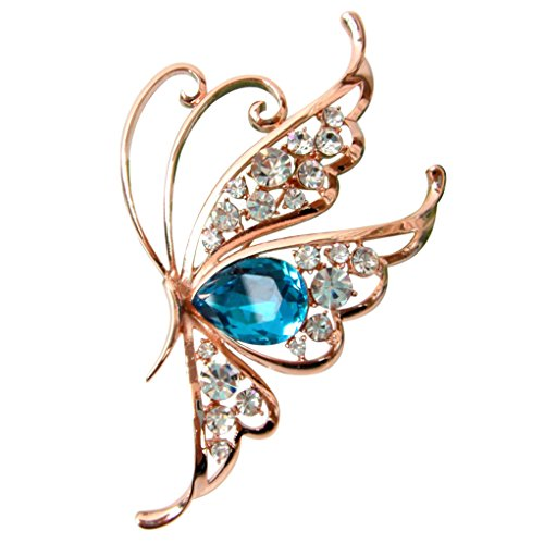 Navachi 18k Gold Plated Blue Cubic Zicon Austrian Crystal Butterfly Az7916b Brooch Pin Butterfly Ruby Brooch