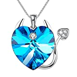 "GEORGE SMITH""Sweet Devil""Love Heart Pendant Necklace Jewelry Birthday Gifts for Girls Daughter,Blue Crystal from Swarovski"