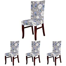 ColorBird Elegant Floral Spandex Fabric Chair Slipcovers Removable Universal Stretch Elastic Chair Protector Covers for Dining Room, Hotel, Banquet, Ceremony (Set of 4, Grey/Blue/White)