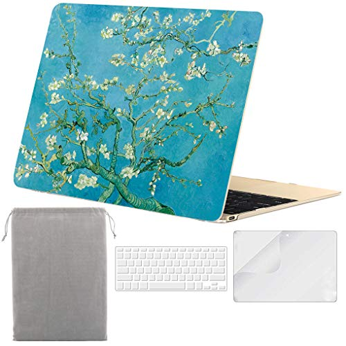 Sykiila - Compatible with MacBook 12 Inch Case Hard Cover 4 in 1 Folio Case + HD Screen Protector +...