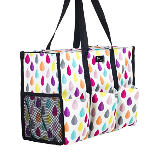 Pursetti Zip-Top Organizing Utility Tote Bag with Multiple Exterior & Interior Pockets for Working Women, Nurses, Teachers and Soccer Moms (Candy Drops) - Exterior Zip Pocket