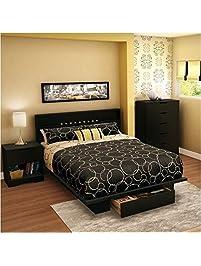 south shore trinity full queen 4 piece bedroom set in pure black - Full Set Bedroom Set